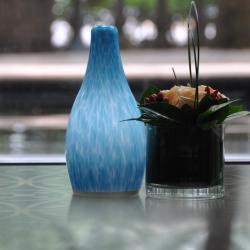 china Blue Glass Modern Style LED Hotel Bedside Table Lamp manufacturer