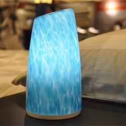 china Blue Glass Tower Shape LED Wireless Table Lamp manufacturer