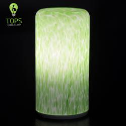 Antique Green Glass Cylinder LED Cordless Decoration Lamp