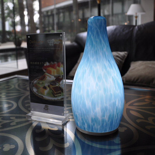 china Blue Glass Antique Dimming LED Table Lamp supplier