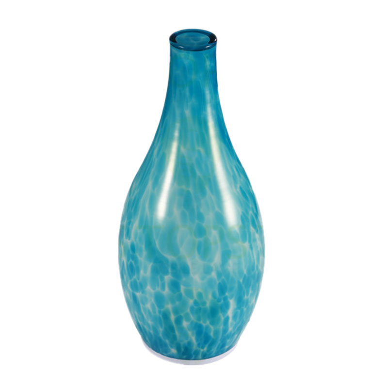 china Blue Hand Made Glass Vase Shape Rechargeable LED Candles supplier