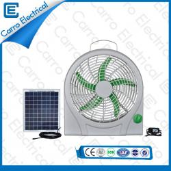 china Wholesale Cheap 10 Inches Solar Panel Small Box Fan Convenient Carying Three Levels Wind Design DC-12V10Q supplier