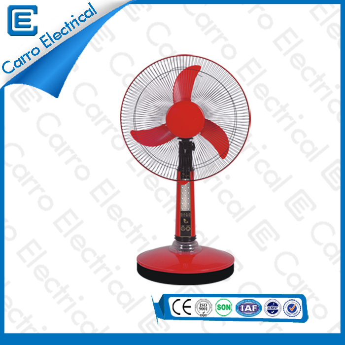 china New Design Popular Rechargeable Battery Powered Table Fan with LED Light Long Working Time CE-12V16A supplier