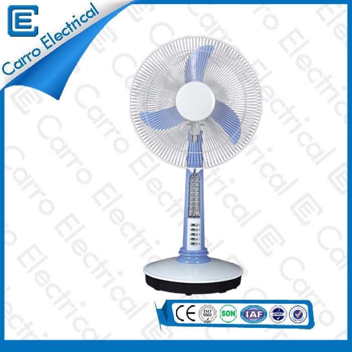 china Elegantes Design 16 Zoll Solar Power / DC Motor Blau oder Rot Schöne Stille Moderne Tischventilator Kleine mit Licht DC - 12V16A2 supplier