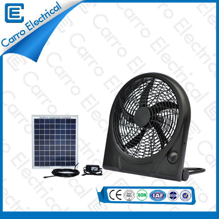 china Portable Solar Box Fan Cool 3 Levels Wind Design Environmental Protection CE-12V10Q supplier