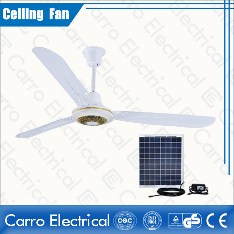 china New production 12v dc brushless motor ceiling fan with solar panel DC-12V56A2 proveedor