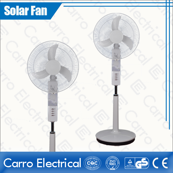 china Quiet and Low Noise PP & ABS 2 Batteries Electric DC Solar Rechargeable Stand Fan CE-12V18K4 fournisseur