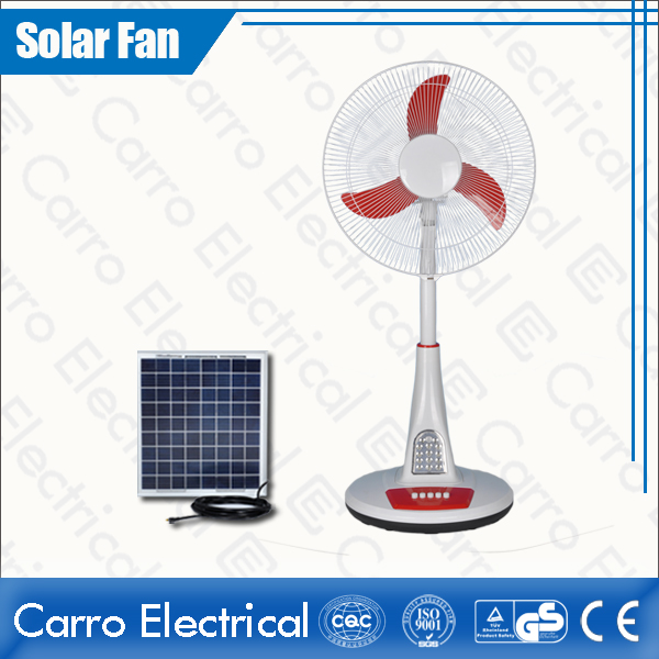 Beautiful 12V Battery Rechargeable Stand Fan with LED Lamps China Supplier CE-12V16TD3