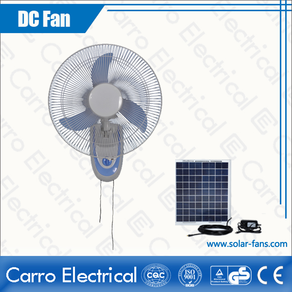 china Hot Sale 12V 35W Solar Dc Home Rechargeable Wall Fan 16 Inches Fan Blades OEM Welcomed CE-12V16F2 supplier