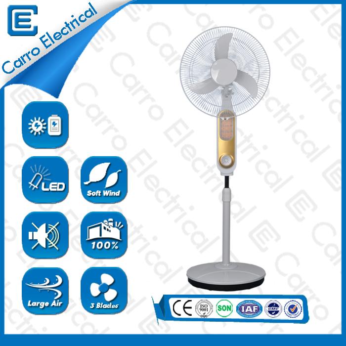 china Alta qualidade fã bateria pedestal 12V com luz LED CE- 12V16K7 fornecedor